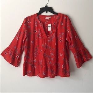 Red floral gap blouse